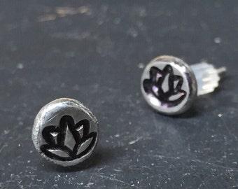 Lotus flower sterling silver stud earrings