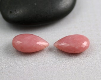 Pink Opal Beads - 16mm - Pink Opal - Briolette Pair