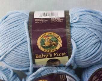 Destash, Blue Cotton Blend Yarn, Lion Brand Baby's First Splish Splash Blue, 3.5 oz., 120 Yard Skein, Bulky Yarn