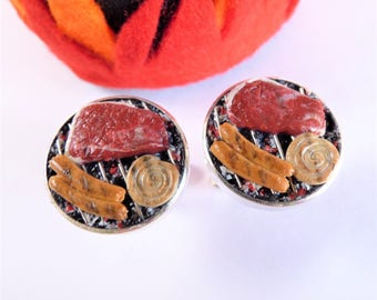 Summer Grill BBQ Cufflinks - Steak and Sausages - Miniature Food Art Jewelry Collectable - Schickie Mickie Original - 100% Handmade