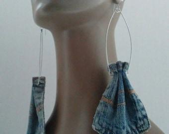 Unique Dangling Denim Pocket Fabric Earrings, Women Earrings, Fashion Fabric Earring, Large Earrings, Long Earrings, Denim Earrings