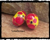 Bright Yellow and Red lampwork Beads  2 Lampwork Beads Hand made Artisan Lamp work Glass Torch