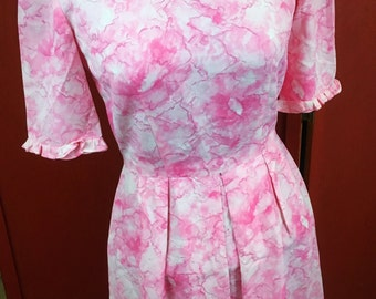 1960s Pink Floral Pleated Party Dress