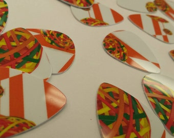 Set of 10 Upcycled guitar picks made from officemax gift card