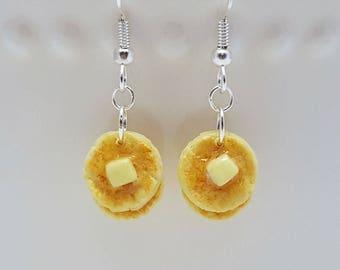 Pancake Earrings - Food Jewelry - Polymer Clay - Breakfast Earrings