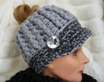 Messy Bun Ponytail Hat No Wool Ready to Ship