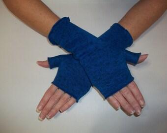 Sweater Knit Fleece Fingerless Gloves / True Blue Heather / Your choice of size