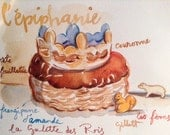 Original watercolor la galette des rois with polar bear #6
