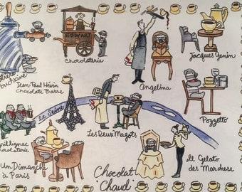 Paris Maps:6-month subscription. An illustrated Paris map each month + small watercolor bonus