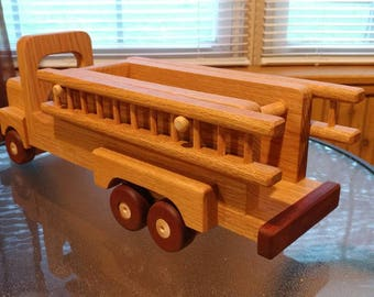Wooden Fire truck  Handmade toys  Oak and mahogany Heirloom Quality Beautifully hand finished with all natural beeswax  personalize