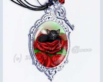Black Cat Cameo // Sleeping Cat Necklace // Sweet Daydreams