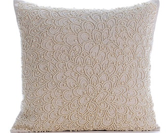 "Designer Ecru Linen Cushion Covers, 16""x16"" Cotton Linen Pillowcase, Square  Allover Pearls Pillows Cover - Pearl Haven"