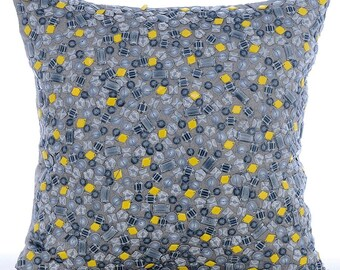 Grey Decorative Throw Pillow Covers, Accent Pillow, Sofa Pillow Case, 16x16 Silk Pillow Cover, 3D Sequin Embroidered - Yellow N Gray Spots
