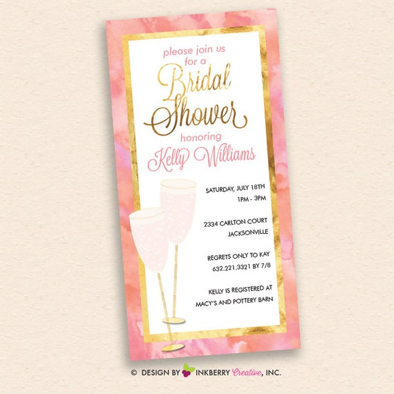 Pink champagne pink and gold bridal shower invitation 4x8 for 4x8 wedding invitations