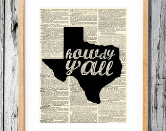 Howdy Y'all - Texas - Art Print on Vintage Antique Dictionary Paper - Lone Star State
