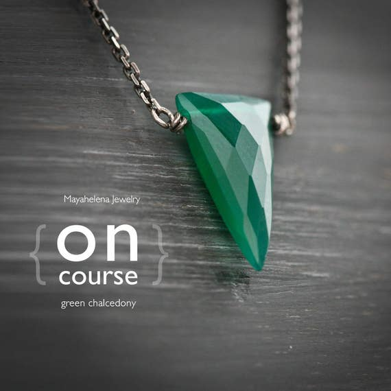 On Course - Green Chalcedony Spike Sterling Silver Necklace