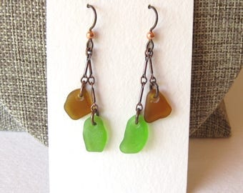 Double Drop Cascade Bright Green and Amber Brown Sea Glass Earrings on Oxidized Copper