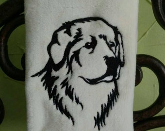 Great Pyrenees Embroidered decorative hand Towel Personalized