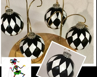 Christmas Tree Ornament (1) // Harlequin Ornament // Whimsical Painted Ornament Harlequin// Black and White Ornament
