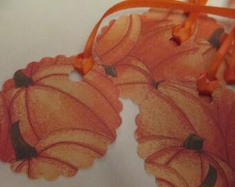 8 Pumpkin Fall Hang Gift Tags