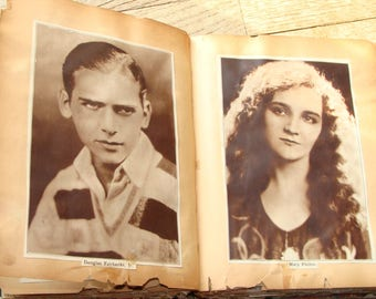 Antique Scrapbook of 1920s Movie Stars 160 PAGES Beautiful Pictures and Captions Cut from Magazines 1928 1929 Hard Cover Collector's Teasure