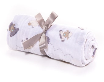 Gender Neutral Swaddle Blankets, Double Gauze, Lambie Embrace, Steel Grey Cream White, Lamb Chops, Farmhouse READY TO SHIP