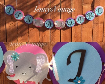 Its A Girl Baby Shower Banner, Elephant Baby Shower Banner, Baby Shower Party Banner, Elephants theme Baby Shower Banner