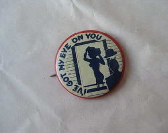 Don't Monkey With Us Pinback Button Vintage Red White Blue Pin Back
