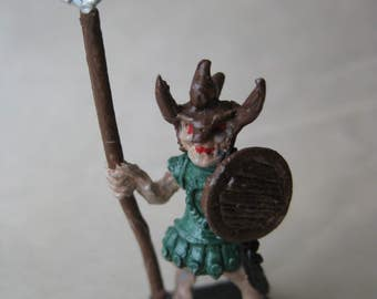 Monster Man with Spear Warrior Dungeons and Dragons Green Figurine Vintage Metal Miniature