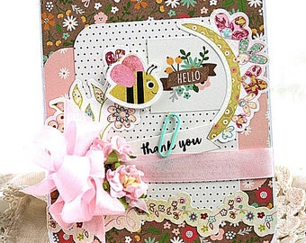 cottage chic card-HELLO THANK YOU bumble bees-sending you sunshine greeting