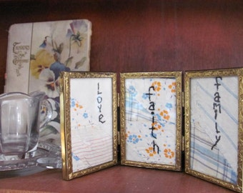 Primitive Stitchery Family , On Vintage Quilt Piece in Gold Retro Picture Frame, Faith, Family, Love