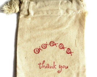 6 Muslin Bags, Sweet Little Ladybugs and Thank You, Gift Bags, Packaging, 4x4 Inches, Hand Stamped, Party Favor Bags