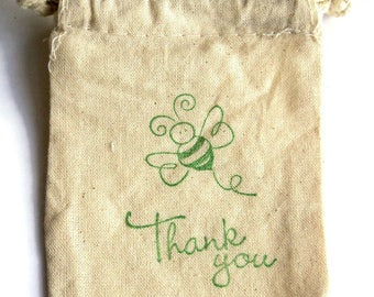 6 Muslin Bags, Green Bee and Thank You, Gift Bags, Packaging, 4x4 Inches, Hand Stamped, Party Favor Bags