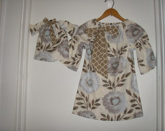 "Tunic Dress America Girl doll dress Taupe beige  floral dress matching 18"" doll dress  2t,3t,4t,5t,6,7,8,10"