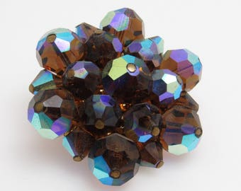 Sparkly Crystal Bead Brooch Brown AB Vintage Jewelry P7754