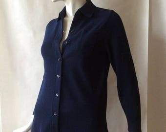 MOVING 4 GRADSCHOOL SALE 1970's  soft jacket cut knit shirt / cardigan, navy blue, button front, with long sleeves, collar, and chest pocket