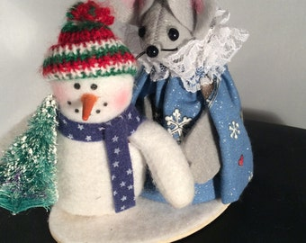 Felt Mouse with a Snowman. NEW LOWER PRICE