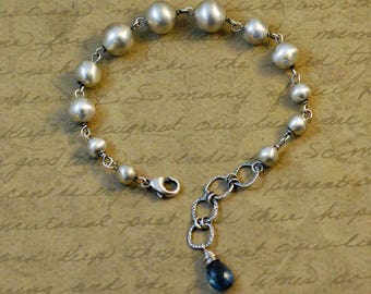 Chunky sterling silver beaded bracelet, 10mm to 6mm beads, adjustable, smooth, statement, oxidized, rustic, blue topaz, bytwilight