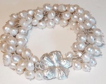Sterling Silver, Fresh water Pearls, Handmade, Cluster Bracelet, Heirloom, Bridal,  30th Anniversary, June Birthstone