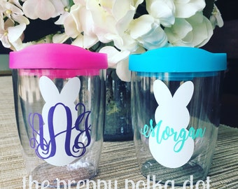 Personalized Monogram Stemless Wine Sipper Cup // Easter Bunny // 10 oz