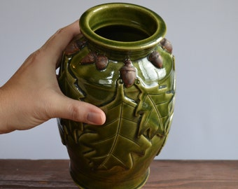 Vase ceramic, decorative oak leaf acorn, one of a kind home decor, glazed in green, handmade by hughes pottery