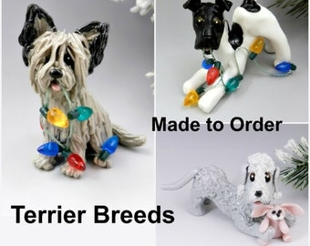 Terrier Breeds Made to Order Christmas Ornament Figurine Porcelain