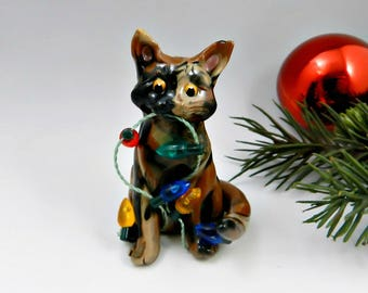 Tortoiseshell Cat Christmas Ornament Figurine Lights Porcelain