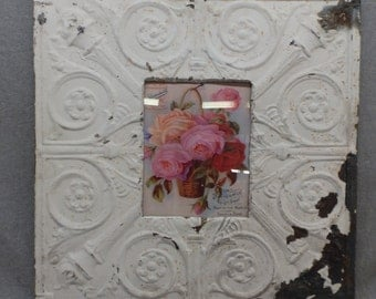 TIN CEILING Picture Frame Cream White 8x10 Shabby Recycled chic 14-17
