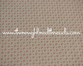 Tiny Hearts - Vintage Fabric New Old Stock Pink Flowers