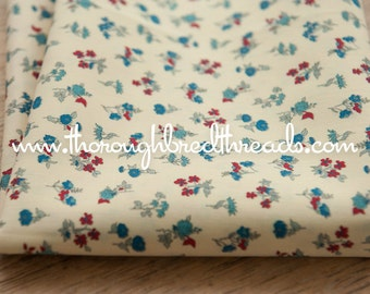Cute Little Wildflowers - Vintage Fabric New Old Stock Red Blue