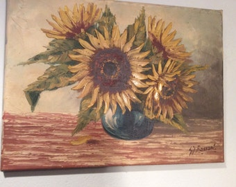 Vintage Sunflower Painting - Vintage Floral Still Life Sunflowers -  Made in Holland - Oil Still Life Painting - Vintage Painting