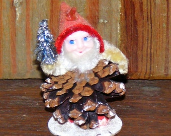 Vintage Pine cone Gnome or Pixie Elf with Bottle Brush tree Chenille and  Spun Cotton Trim Japan