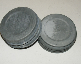 Vintage Zinc Metal Ball Mason Jar Lid with Milk Glass Insert Set of Two lot  Regular Size