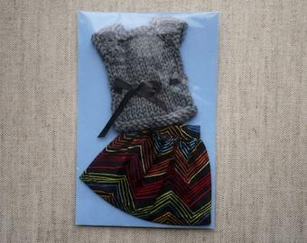 Blythe Skirt & Top Set - Colorful Zig Zag Black with Dark Grey Top